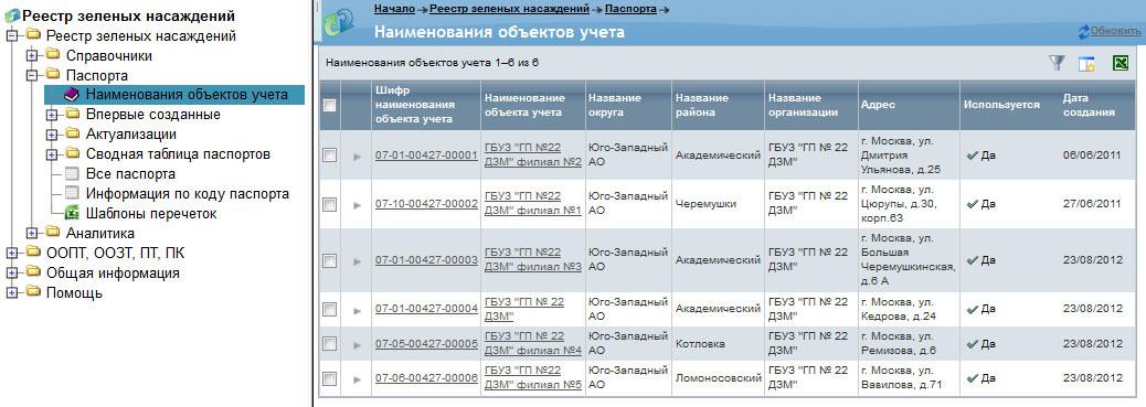 окно со списком всех объектов учета, доступных текущему пользователю