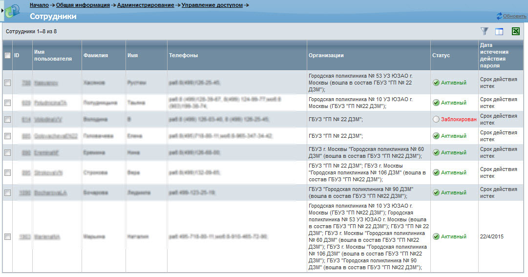 Информация о логине пользователя, его данные, статус и дата истечения действия пароля